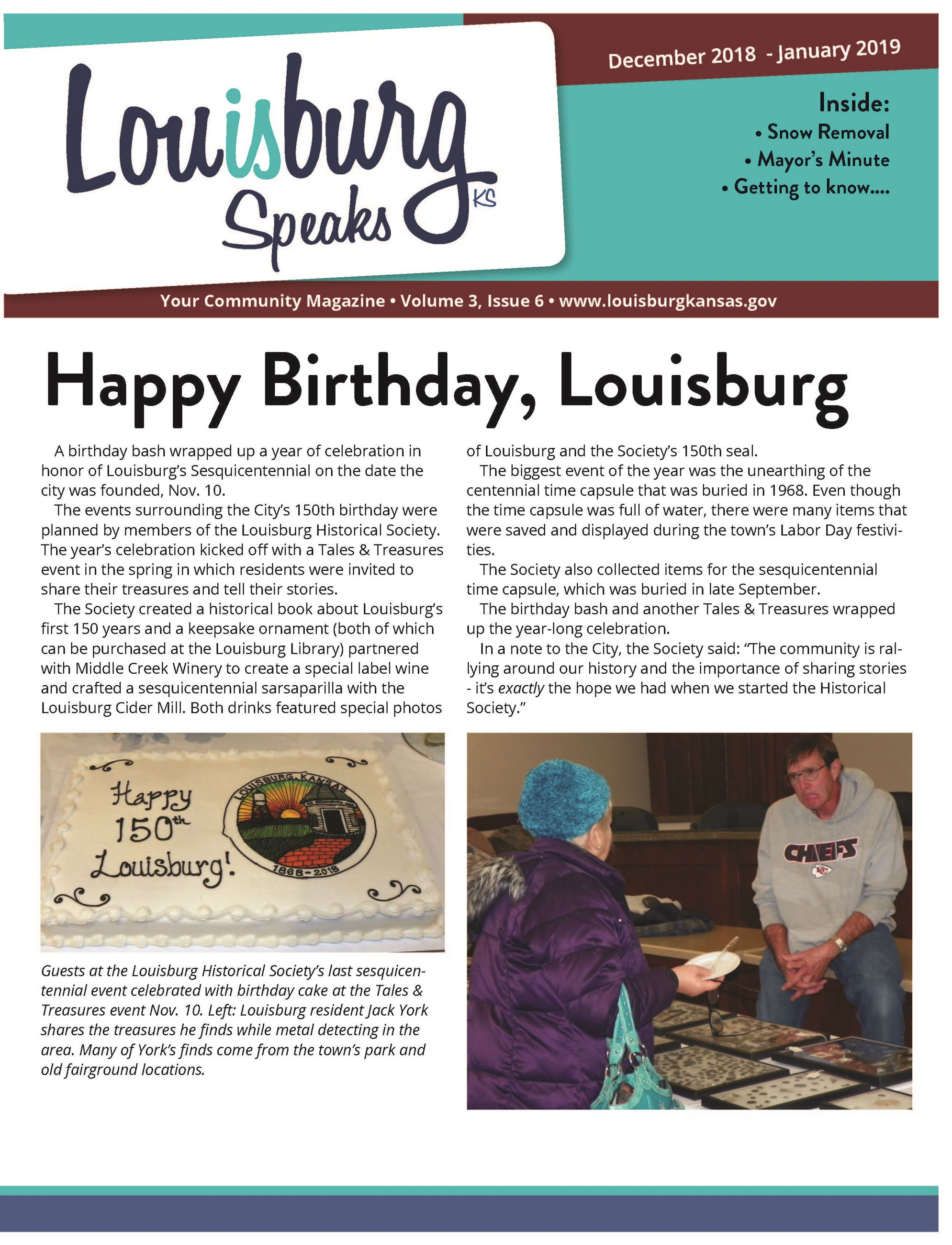 A screenshot of the front of the newsletter