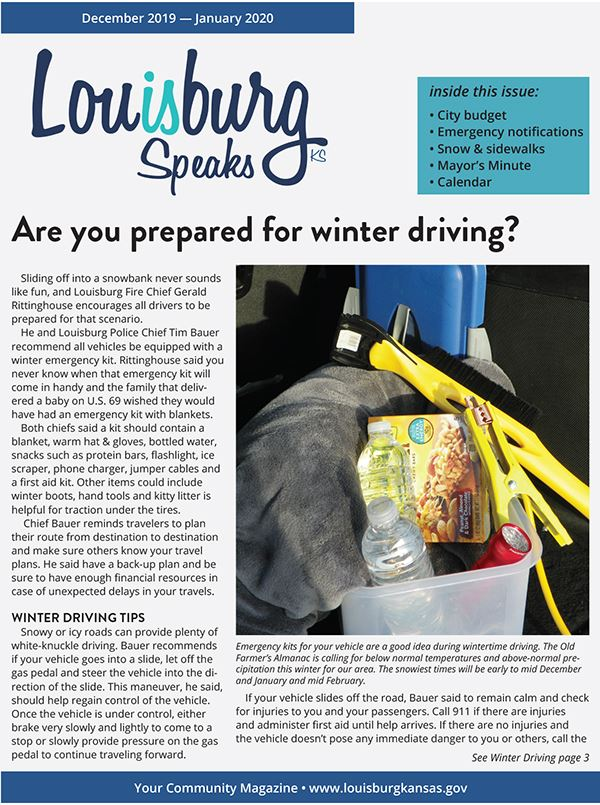 The front page of the winter issue of Louisburg Speaks.