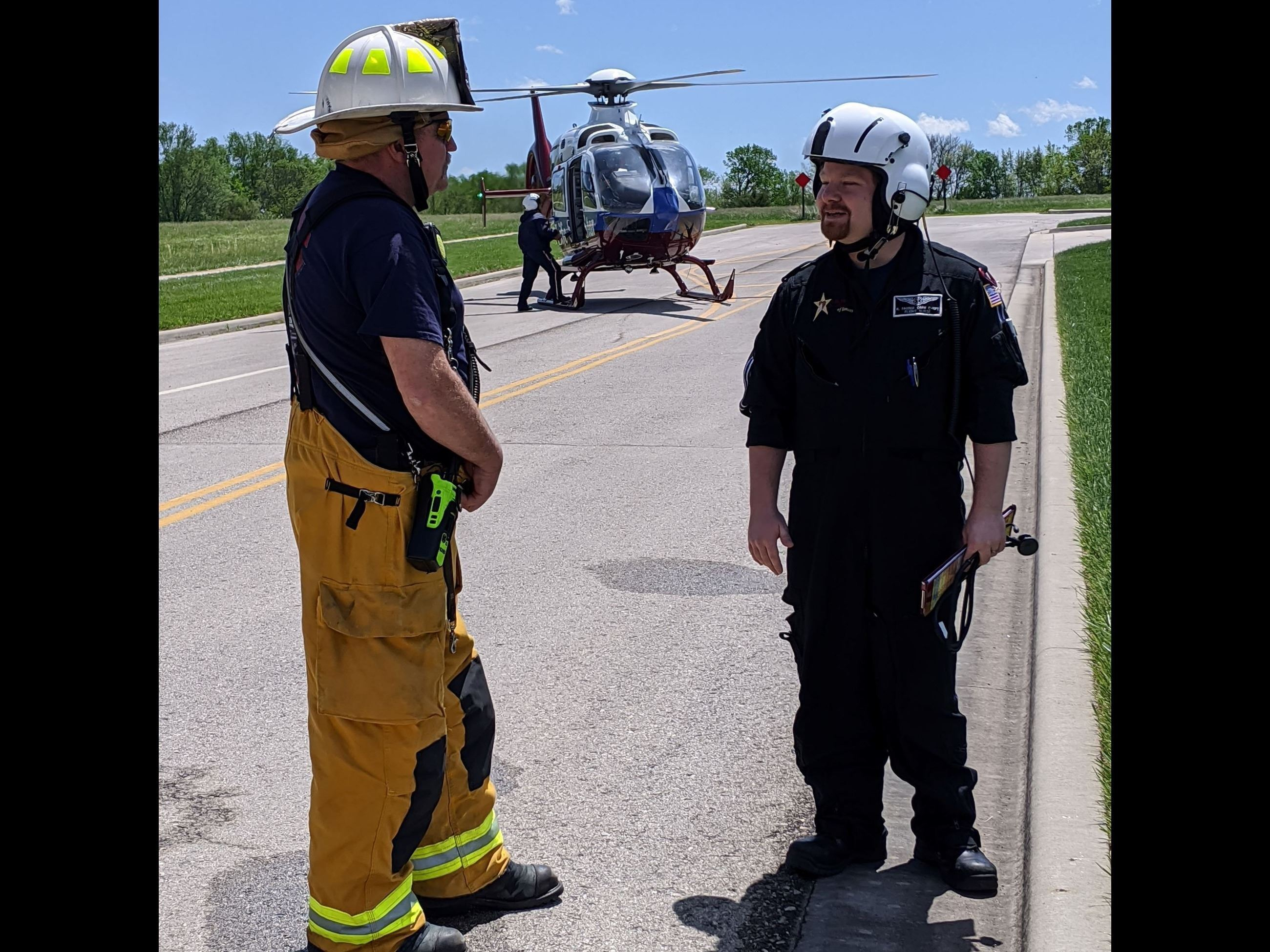 Chief Rittinghouse and the Life Star 3 pilot prepare for a joint training exercise.